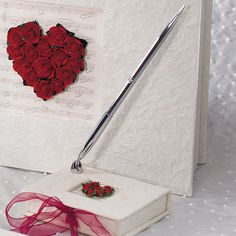 Flower of Love In Romantic Red Mulberry Paper Wrapped Pen Set - Silver Pen