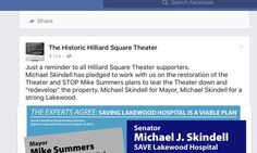 Skindell Promises to Save the Hilliard Theater?
