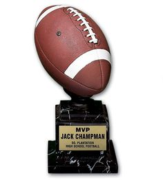The Full Color Football Replica Trophy measures in height. This hand painted resin sculpture is a youth favorite and makes a terrific MVP or team trophy. Football Trophies, Resin Sculpture, High School Football, Hand Painted, Decoration, Color, Ideas, Decor, Dekoration