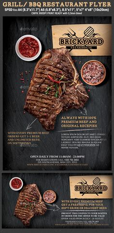 Grill/steak Restaurant Flyer Template - Download…