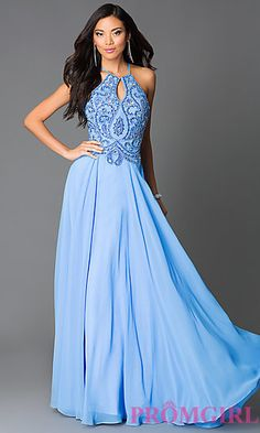 Beaded Periwinkle Blue Long High Neck Open Back Prom Dress at PromGirl.com