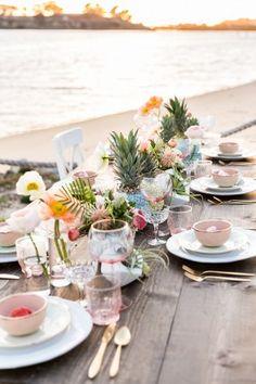 beach wedding tablescape - photo by Cavin Elizabeth http://ruffledblog.com/tropical-pastel-wedding-inspiration