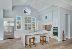 black white shaker cabinets vaulted ceiling - Google Search