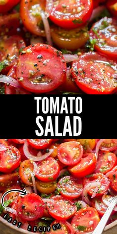 This fresh tomato salad is simply the best and easiest summer salad you'll ever make! This salad is ideal to be served with anything from the grill! #recipes #summer #saladrecipes #tomatosalad #easy #quickmarinated #marinated #bestsalad #chilledsalad #grilling #sidedish #fresh #tomatoes Tomato Basil Salad, Tomato And Onion Salad, Cherry Tomato Salad, Tomato Salad Recipes, Cherry Tomatoes, Easy Summer Salads, Summer Tomato, Grilled Chicken Salad, Grilled Meat