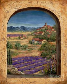 """Lavender Fields of Provence"" by Marilyn Dunlap: The artist uses a combination of pallet knife and brush strokes to create an interesting contrast. This landscape features a village, typical of the Mediterranean Region. Please enjoy the brightl. Design Toscano, Tuscan Art, Fine Art Amerika, Provence Lavender, Tile Murals, Tuscan Decorating, Decorating Games, Window Art, Lavender Fields"