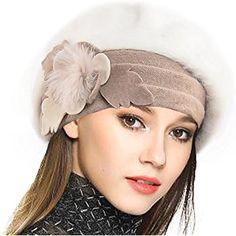 01ffc2a2534 VECRY Women s 100% Wool Bucket Hat Felt Cloche Bow Dress Winter Hats Dress  Winter