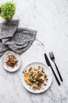 Slow Roasted Cauliflower Salad With Sweet Potato Hummus And Nut Dukkah