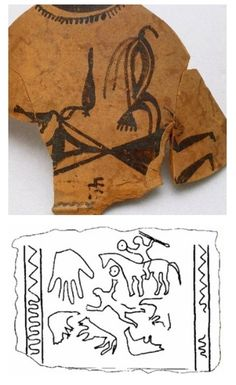 cerámicas de Numancia - Guerrero y pájaro. Debajo, dibujo de la estela de Zurita de Piélagos http://www.regiocantabrorum.es/publicaciones/estela_de_zurita_de_pielagos