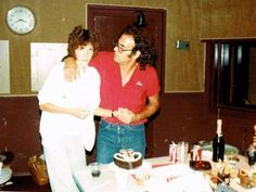 Karen & fellow musician on her solo album Liberty DeVito, 1979..notice Karen's 'special' birthday cake!