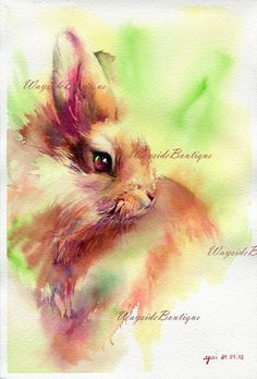 Rabbit - ORIGINAL watercolor painting 7.5x11 inches