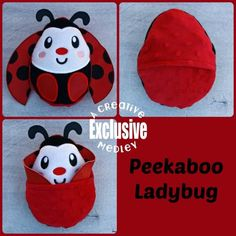 Peekaboo Ladybug In the Hoop Stuffed Softie - Reversible folds into an egg, ITH, IN The Hoop, Embroi Learn Embroidery, Machine Embroidery Patterns, Embroidery Designs, Stuffed Animal Patterns, Diy Stuffed Animals, Sock Monster, Softie Pattern, Crochet Birds, Clay Miniatures