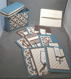 OSW with DSP gift box with cards-make something like this with Stampin up bigz die Card Making Designs, Card Making Templates, Cool Cards, Diy Cards, Scrapbook Storage, One Sheet Wonder, Card Ideas, Gift Ideas, Card Making Techniques