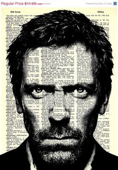 Dr. Gregory House - House M.D. - Print on Vintage repurposed paper - dictionary print