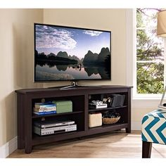 """Shop for 58"""" Espresso Wood Corner TV Stand. Get free shipping at Overstock.com - Your Online Furniture Outlet Store! Get 5% in rewards with Club O!"""