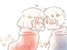 ni naru】『alice cafe』●F. Cute Couple Poses, Cute Couple Drawings, Anime Couples Drawings, Cute Anime Couples, Cute Drawings, Cute Anime Chibi, Kawaii Chibi, Anime Love, Kawaii Anime