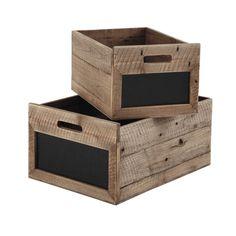 2 caisses avec ardoise en bois et ardoise H 24 cm AUGUSTINE | Maisons du Monde