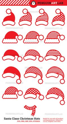 Santa Claus Hats SVG Monogram Files Christmas Cut Files for