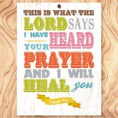 Healing Bible Scripture - Christian Bible Scripture Quote Art Print 11X14  No Q0057  by GraceHouseArt, $24.95