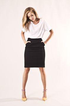 Knee Long Skirt via JENNYGRETTVESTORE, Contemporary Swedish Fashion. Click on the image to see more!