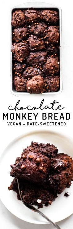 Bread and brownie collide in this sticky-sweet loaf of Chocolate Monkey Bread. Vegan, paleo, gluten-free, date-sweetened, so fudgy and decadent!