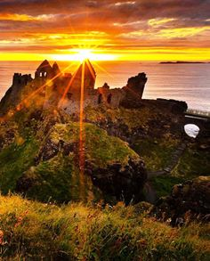 Dunluce Castle Sunset, County Antrim, 40 mins drive from the Cottages, Northern Ireland: Great Places, Places To See, Beautiful Places, Beautiful Pictures, Amazing Sunsets, Ireland Travel, Northern Ireland, Monument Valley, Sunrise