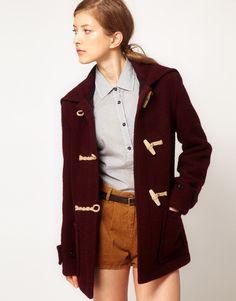 Taylor Swift duffle coat burgundy maroon winter autumn style