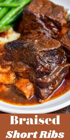 Braised short ribs are a sophisticated, yet easy and cozy meal for a perfect family dinner. This classic recipe is much easier than most people think. It starts in a Dutch oven on stove-top and then… More Dinner Party Recipes, Appetizer Recipes, Dinner Ideas, Easy Family Dinners, Easy Dinners, Ribs Recipe Oven, Cooking Short Ribs, Rib Recipes