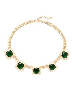 Emerald Crystal & Gold Station Necklace from Color Crush: Jewel Tones on Gilt