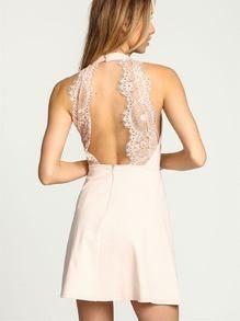 little white dress, apricot halter lace dress, homecoming dress, wedding dress, party dress - Crystalline