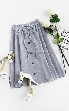 Blue Vertical Striped Buttoned Front Skirt