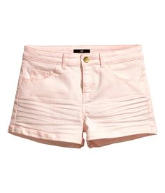 Short, slim-fit shorts in light pink stretch cotton twill. | H&M Pastels