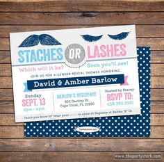 Gender Reveal Party Invitations: Printable Staches or Lashes Theme Baby Shower Invite with Mustache, Navy Blue, Pink, More Ideas in our shop by thepartystork on Etsy https://www.etsy.com/listing/184365552/gender-reveal-party-invitations