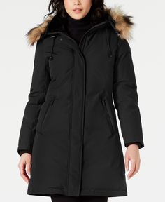 Vince Camuto Hooded Faux-Fur-Trim Down Parka - Black Down Parka Women, Shell, Coats For Women, Clothes For Women, Cold Weather Fashion, Plus Size Designers, Plus Size Shopping, Women's Socks & Hosiery, Fur Trim