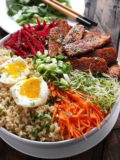 Smoky Tempeh Vegetable and Rice Bowl | SoupAddict.com - smoky, marinated tempeh with fresh vegetables and sprouts over rice and topped with an egg makes for a healthy, delicious winter meal.