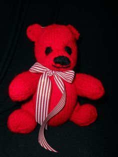 Hand Knit Bears by B & B Kniddlings. A portion of all proceeds goes to Alzheimers Research. We hope you will come see us at http://www.etsy.com/shop/Kniddlings