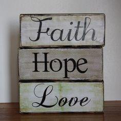 Faith Hope Love Wood Blocks home decor by dancingcreekdesigns, $20.00