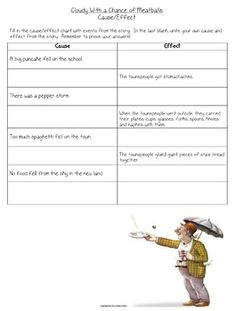 Cloudy With a Chance of Meatballs cause/effect worksheet : ) : )