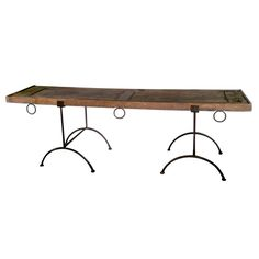 Mesquite Table with Iron Base Found in San Miguel de Allende, Mexico | From a unique collection of antique and modern industrial and work tables at https://www.1stdibs.com/furniture/tables/industrial-work-tables/