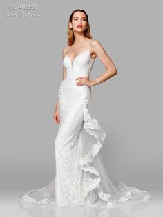 Clarisse White 600141 Wedding Dress with Removable Train