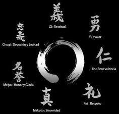 "Bushido kanji: From the top (clockwise) Gi Yu Jin Rei Makoto Meiyo Chuugi. The one on the inside is an ""enso"". Samurai Tattoo, Samurai Art, Samurai Warrior, Bushido Tattoo, Kanji Tattoo, Tattoo Symbols, Bad Tattoos, Body Art Tattoos, Cool Tattoos"