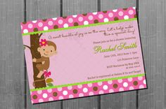 Pink Monkey Girl Baby Shower Invitation by CuddleBugInvitations, $10.00