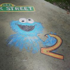 Chalk drawings at a Sesame Street Birthday Party!  See more party ideas at CatchMyParty.com!