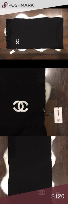 """Chanel scarf New with tags black scarf. Measurements 72""""X19"""". Wool material CHANEL Accessories Scarves & Wraps"""