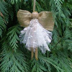 Folksy angel peg doll