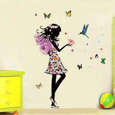 Beautiful Butterfly Elf Arts Wall Sticker For Kids Rooms Home Decor Backdrop Wall