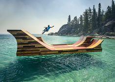 Floating skateboard ramp installed on Lake Tahoe for Bob Burnquist
