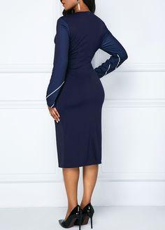 2e4eeefcf173b5 Printed V Neck Navy Long Sleeve Sheath Dress