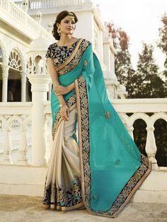 Sea Green and Cream Georgette Saree with Embroidery Work