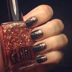 Bronze glitter gradient nails
