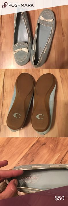 Cute , comfy Coach shoes Coach blue suede loafer slip on shoes Coach Shoes Flats & Loafers